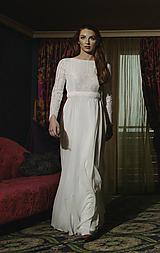 Šaty - Svadobné šaty s dlhým rukávom a kruhovou sukňou - 12079343_