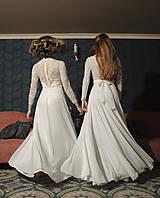 Šaty - Svadobné šaty s dlhým rukávom a kruhovou sukňou - 12079345_