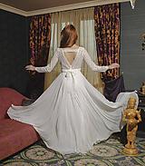 Šaty - Svadobné šaty s dlhým rukávom a kruhovou sukňou - 12079347_
