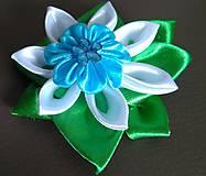Ozdoby do vlasov - Sponka do vlasov modro zelená - 12080841_