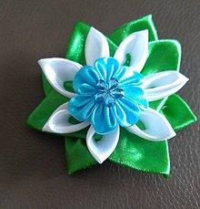 Ozdoby do vlasov - Sponka do vlasov modro zelená - 12080839_