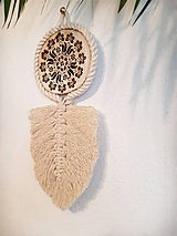 Dekorácie - macramé lístok s drevom - 12083407_