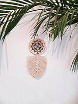 Dekorácie - macramé lístok s drevom - 12083408_