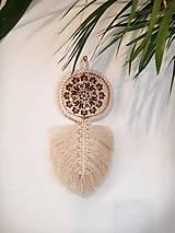 Dekorácie - macramé lístok s drevom - 12083410_