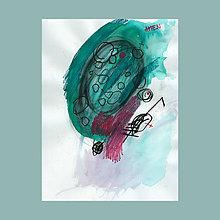 Obrazy - amen. akvarel / kresba na výkrese . A4 - 12081821_