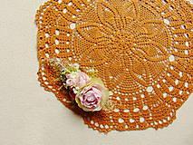 Úžitkový textil - Háčkovaná dečka Zlatý karamel - 12082970_