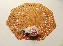 Úžitkový textil - Háčkovaná dečka Zlatý karamel - 12082975_