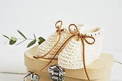 Topánočky - Bavlnené papučky pre bábätko (krémová - 6 až 12 mes.) - 12083872_