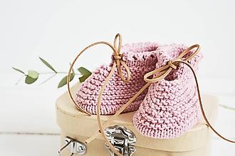 Topánočky - Bavlnené papučky pre bábätko (staroružová - 3 až 6 mes.) - 12083877_