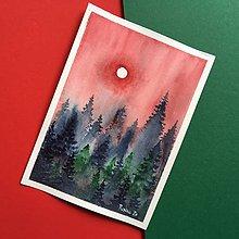 Obrazy - Originál akvarel Červená obloha nad lesom - 12082512_