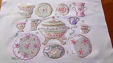 """Obrázky - Shabby chic obraz """" Ružičky na porcelánoch"""" - 12081453_"""