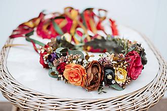 Ozdoby do vlasov - Jesenný kvetinový venček so stuhami - 12081348_