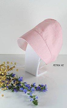Detské čiapky - Rose - detský ľanový čepček - 12084265_