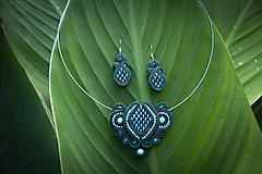 Sady šperkov - Šmaragdová Kara - šujtášový set - 12085802_