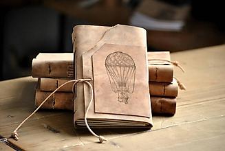 Papiernictvo - kožený zápisník BALOON - 12086638_
