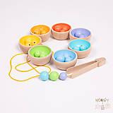 Hračky - Dúhové misky s guľôčkami - drevený set - 12084769_