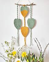 Dekorácie - Makramé závesná dekorácia MEMORY (Zelená/horčicovo žltá) - 12084666_