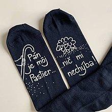 """Obuv - Motivačné maľované ponožky s nápisom: """"Pán je môj pastier!"""" (Tmavomodré) - 12085969_"""