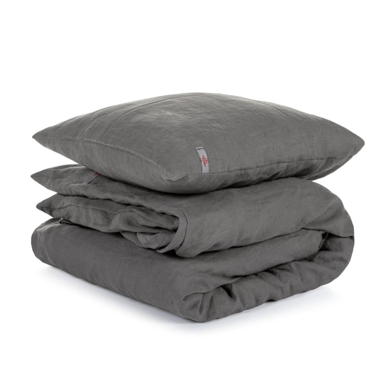 Úžitkový textil - Ľanové obliečky Dark Grey 140x200,50x70 - 12087394_