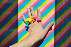 Prstene - set nastaviteľných prsteňov | rainbow | minimal - 12088133_