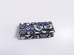 Peňaženky - Priehradková peňaženka z folk modrej ekokože - 12088541_