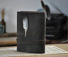 Papiernictvo - Kombinovaný kožený zápisník DAMIEN - 12089909_