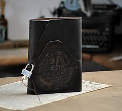 Papiernictvo - kožený zápisník - lodný denník SECRET - 12089918_