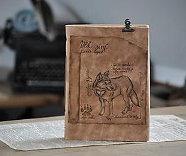 Papiernictvo - kožený zápisník CANIS LUPUS - 12090028_