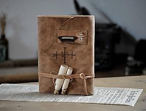 Papiernictvo - kožený zápisník - grimoár ARGENTUM - 12090042_