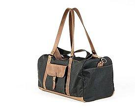 Veľké tašky - Cestovná taška z voskovaného plátna a kože. - 12089419_