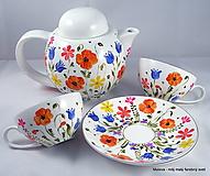 Nádoby - čajová súprava Rozkvitnutá s divými makmi - 12089061_