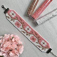 Náramky - Náramok na ruku Cik Cak kvety (Ružová) - 12089093_