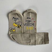 Obuv - Maľované ponožky pre PANI UČITEĽKU včielok (V. 38-39) - 12091233_