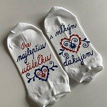 Obuv - Maľované ponožky pre PANI UČITEĽKU s veľkým srdcom (folk členkové BIELE) - 12091273_