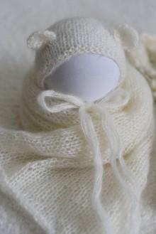 Detské čiapky - Newborn mohérový smotanový set - wrap a čiapočka s uškami - 12088702_