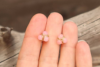 Náušnice - Náušnice napichovačky ružový jadeit - 12088946_