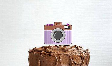 Dekorácie - Fotoaparát - zápich do torty (pásikový) - 12089658_