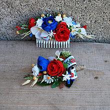 Ozdoby do vlasov - Svadobná sada folklórna- hrebienok , pierko - 12094577_