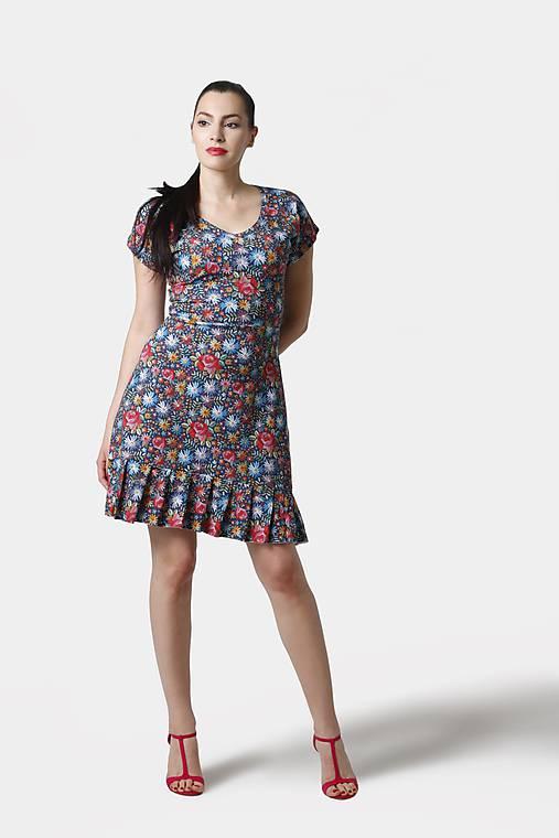 Šaty - Šaty modré s volánom - 12093701_