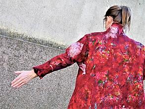Kabáty - Jarný vlnený kabátik červený - 12094698_
