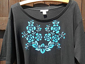 Tričká - modré ruže: ,,Benátske,,tričko XXL - 12092602_
