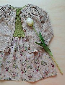 Detské oblečenie - Set pletený kardigán a šatočky, veľkosť 1 rok - 12093715_