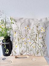 Úžitkový textil - Vankúš kamilky maľovaný - 12093434_