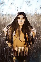 Ozdoby do vlasov - Gumička do vlasov s perím - hnedá - 12093676_