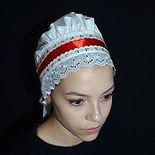 Iné doplnky - Biely čepiec s červenou stuhou - 12092956_