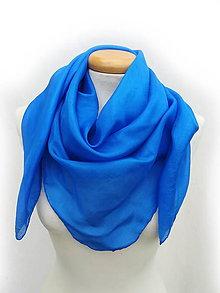 """Šatky - """"royal blue"""" hodvábná šatka  90x90 cm- skladom - 12093216_"""
