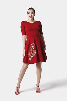 Šaty - Šaty bordové s farebnou výšivkou na sukni - 12095032_