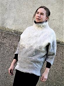 Svetre/Pulóvre - Dámsky sveter z Merino vlny bielo-šedý - 12095913_