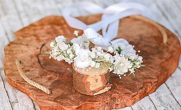 Ozdoby do vlasov - Novinka: biely kvetinový venček do drdolu (2 v 1) - 12097767_