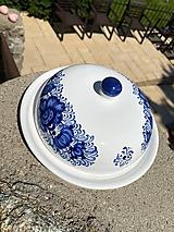 Nádoby - Modrá maľovaná maselnička - 12095122_